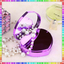 6600mAh Heart Shape Power Bank Makeup Mirror Power Charger For iPhone6 Smartphones Girls Gift Battery Backup Mobile power(China (Mainland))