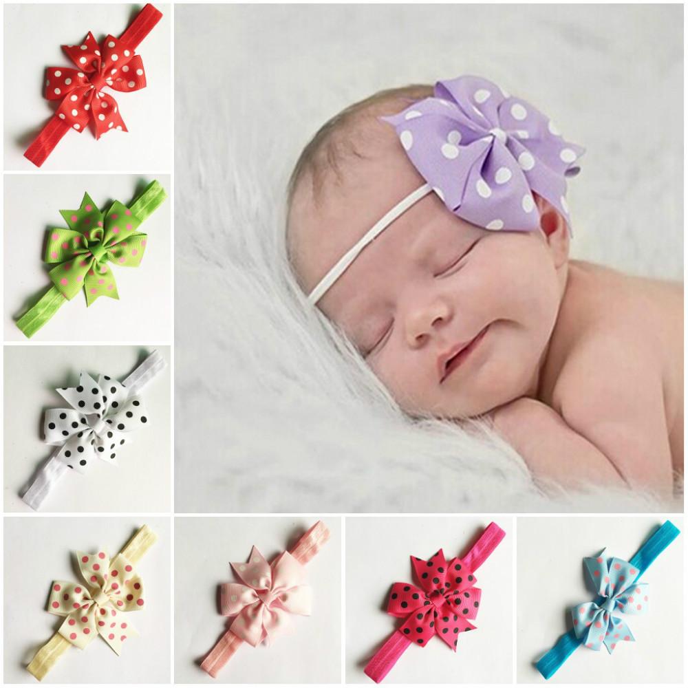 Baby Polka Dot Bow Headband, Infant Headband, Toddler Headband, Navy Blue Headband Free Shipping C117(China (Mainland))