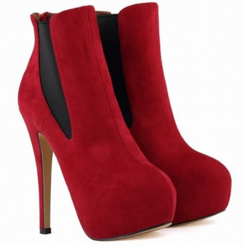 ~2014 Genuine Leather Women's Stilettos Ankle Boots Suede High Heels Pumps Plus Size US 5-11 - Mackie Wong's store