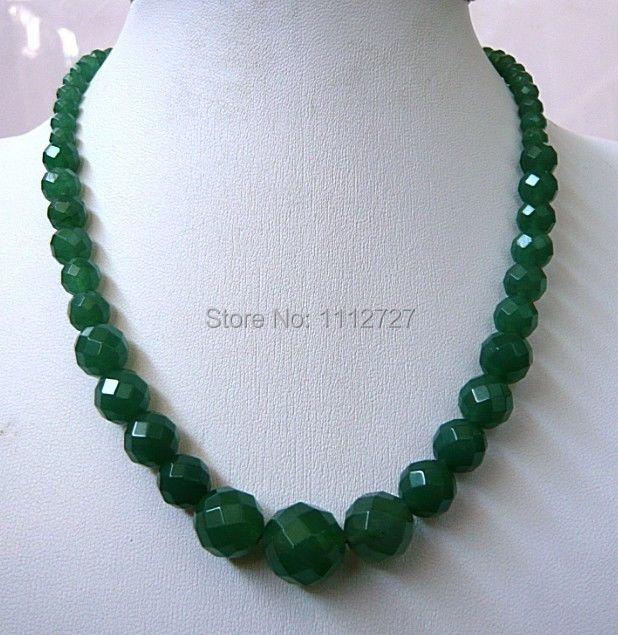 """Fashion jewelry 6-14mm Faceted Natural Emerald Round Beads Necklace Natural Stone 18""""MY4312 Wholesale Price(China (Mainland))"""