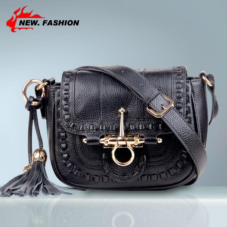 Free Gift Designer 2015 New Fashion Style Tassel Weave Lock Real Genuine Leather Women Handbag Shoulder Messenger Bag Black Red(China (Mainland))