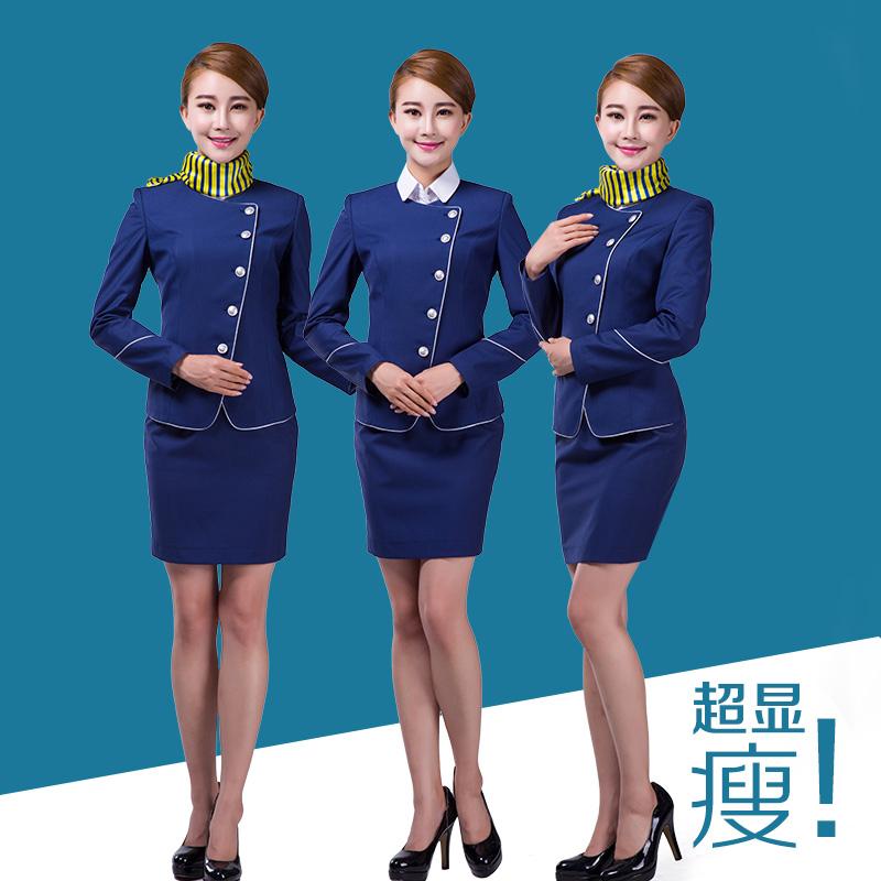Gold arts uniform stewardess uniforms professional set front desk work wear female slim - Fashion angle credibility store