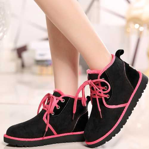 New Big Size 36-41 Leisure Mixed Colors Bordered Lace Up Wedges Round Toe Ankle Boots 4 Colors Women Winter Warm Fur Shoes(China (Mainland))