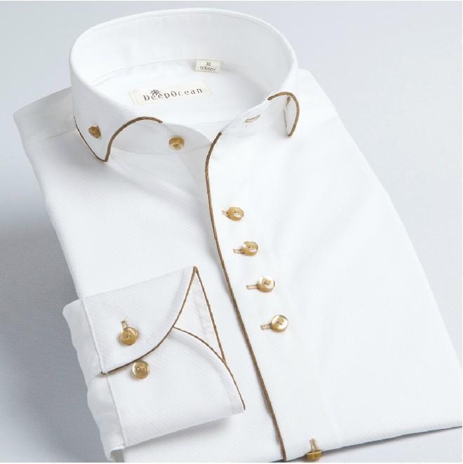 Cotton Brand Shirt for Men, Mens White Gold Side Slim Fit Dress Shirt ...