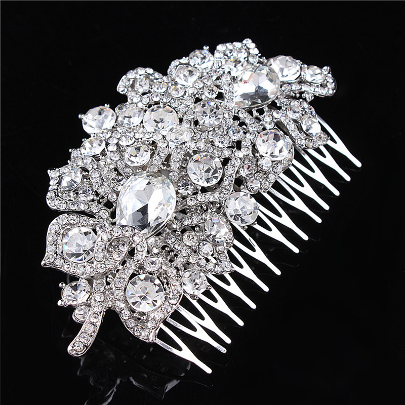 Fashion Luxury Rhinestone Crystal Bridal Hair Comb Wedding Women Head Jewelry bijoux de tete pour femme(China (Mainland))