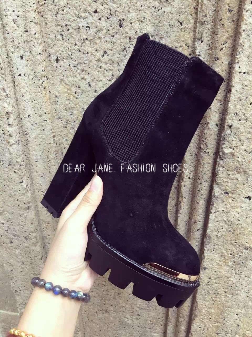 2016 Новый горячий угорь женщин рокер стиль круглого toe Slip-на толстый высокий каблук 12см сверкающие оболочка / колонки сапоги/мода для женщин платформы насосы большой размер