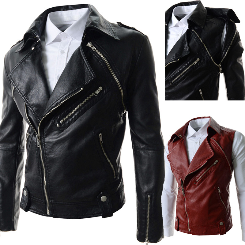 Fall-Leather Jacket Men 2015 Jaquetas De Couro Detachable Sleeve