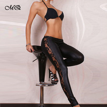 Pluz size XL Black bodycon Pencil Pants Sexy women Pu Faux leather leggins Lace leggings Montage fitness women legging(China (Mainland))