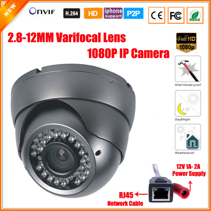 Varifocal Lens 2.8-12mm Dome Vandalproof IP Camera Indoor Outdoor 2.0MP 1080P Full HD ONVIF IOS Android P2P IP Security Camera(China (Mainland))