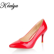 2016 Sexy Pointed Toe women Pumps Plus size 30-47 fashion solid PU Slip-On nude high heel shoes small size 30 31 32 33 MEQZ-A-3