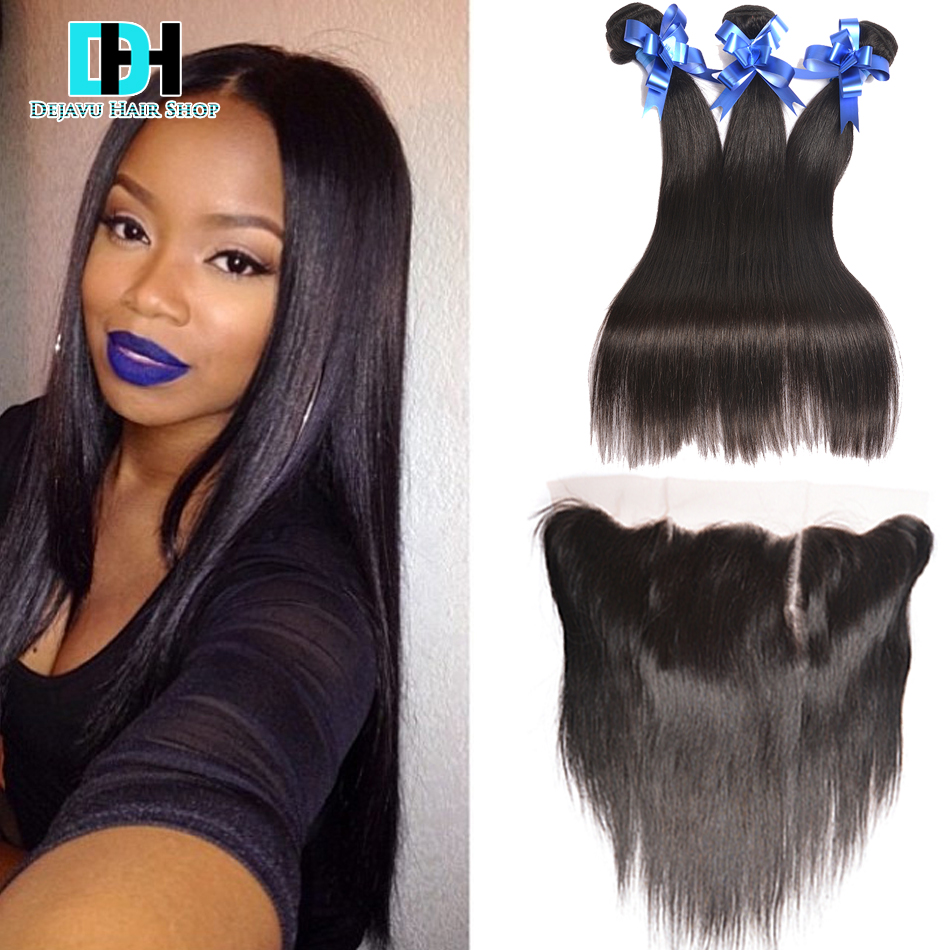 Grace Hair Products With Closure Brazilian Virgin Hair Straight With Closure Full Lace Frontal Closure Free Part With Bundles