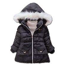 New baby Girls Autumn Winter Black Coat  Plus Thick Velvet Hooded Cotton-padded Long Jacket Children Clothing Winter Jacket(China (Mainland))
