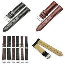 1pcs Men Women Soft Faux Genuine Leather Strap Stainless steel Buckle Wrist Watch Band Size 18 20 22 24mm