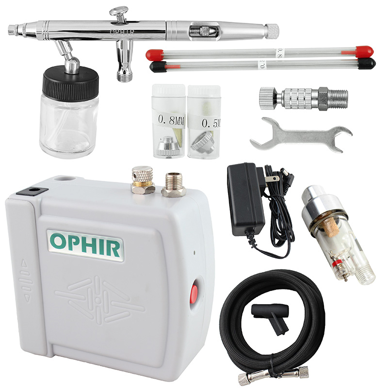 OPHIR Pro Airbrush Kit wth Mini Air Compressor Dual Action Airbrush Spray Gun for Hobby Cosmetics Tattoo Makeup Body Paint(China (Mainland))