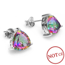 Triangle 6.5ct Genuine Rainbow Fire Mystic Topaz Solid Pure 925 Sterling Silver Stud Earrings Sets Vintage Jewelry Brand Fashion(China (Mainland))