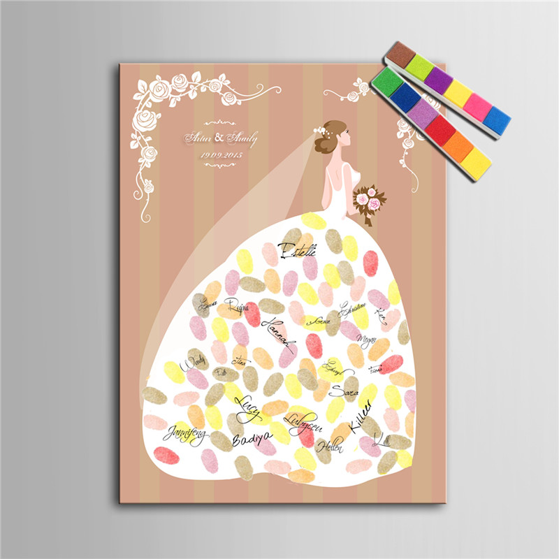Personalized fingerprint tree canvas wedding guest book for Aana decoration wedding accessories