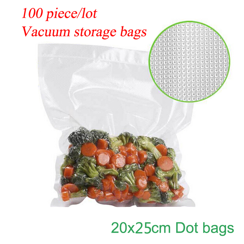(100 Pieces/Lot ) High Quality One Side Dot Bag VACUUM HEAT SEALER FOOD SAVER BAGS ROLLS Food Storage Bags Saran Wrap 20*25cm(China (Mainland))