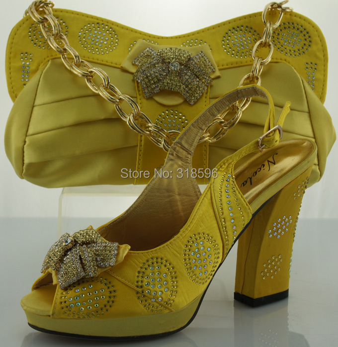 yellow African Shoes And Matching Bags Set For Women Italy Shoes And Bags With Stones Size 38-42(China (Mainland))