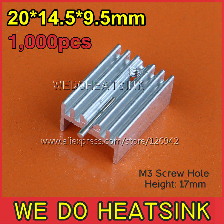 Free Shipping 100Pcs/Lot 25*14.5*9.5 mm TO-220/TO220 Golden Anodized Aluminum Heat Sink With M3 Screw Hole<br><br>Aliexpress