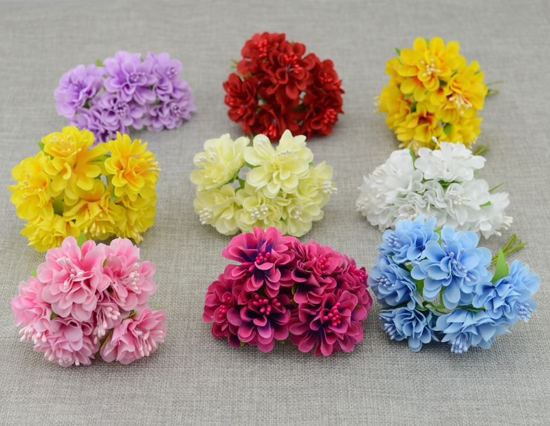Free shipping 12pcs fake flower decoration cheap artificial flowers silk flower Carnations Wedding decoration Wreath material(China (Mainland))
