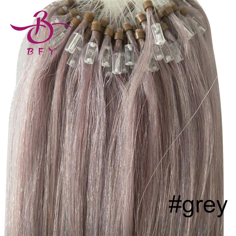 """Cheap Loop hair 100S 16""""18""""20""""22""""24""""26"""" grey hair remy human hair extension 0.4g0.5g0.7g #60 Bleach blond brazilian virgin hair"""