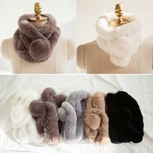 Women Whole set rabbit skin Rex rabbit fur scarf Real Natural Rabbit Fur Scarves(China (Mainland))