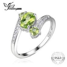 JewelryPalace 1.1ct Зеленый Перидот 3 Камень Летие Кольцо Украшения Для Женщин Настоящее Стерлингового Серебра 925 Vantage Подарок(China (Mainland))