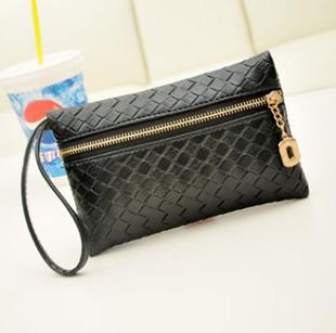 2015 New Hot Sell Female Fashion Bag Korean Joker Weaving Zero Wallet Men And Women General PU Bag Free Shipping(China (Mainland))