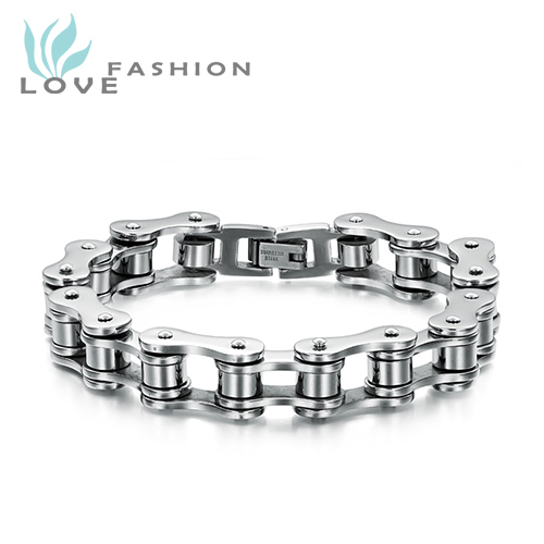 Free Shipping wholesale stainless steel men jewelry silver bicycle chain cool men s bracelets bangles fashion