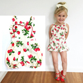 2016 Summer baby girl clothes Floral Strawberry Baby Girl Romper Toddler Rompers heart Baby Jumpsuit Infant