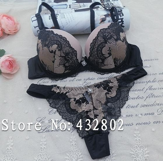 Brand 2015 vs secret women bra set push up the noble embroidery brassiere bra and panty ABC Cup women's lingerie set(China (Mainland))
