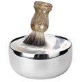 Fashion Men 1set Stainless Steel Double Layer Shaving Mug Lid Bowl Cup For Shave Brush New