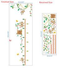 Садовые обезьяны, измерения высоты, настенные наклейки для детских комнат, Бабочка, забор, цветок, высота, диаграмма, 3d декор для детской ком...(Китай)