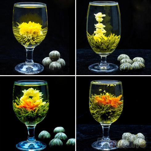 4 Balls Different Handmade Blooming Flower Green Tea Home Wedding Gift 1ON6 1ORU 2TOY