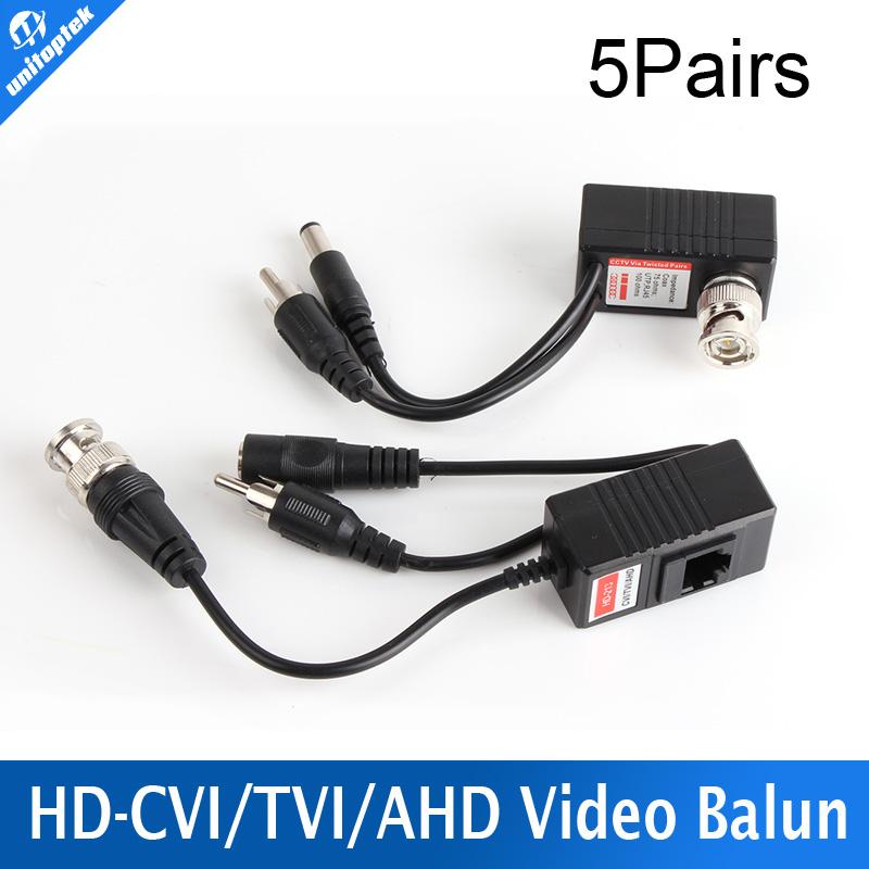 5 Pair/lot CCTV CAT5/5E/6 Cable Balun RJ45 Video Power Balun Video Audio Power For HD AHD,HDCVI HDTVI 720P CCTV Camera(China (Mainland))
