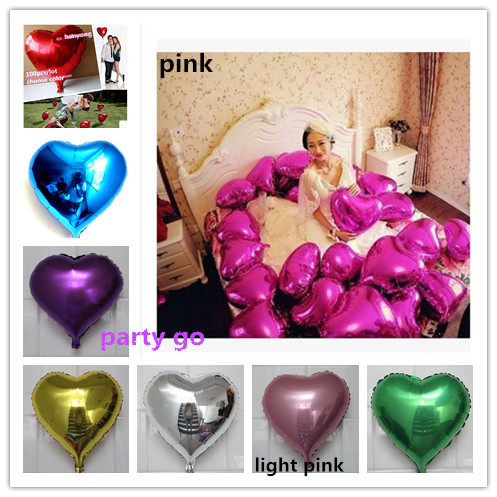 18inch Colorful Heart shape Mylar Balloons Party Decoration Air Balloons Wedding Foil balloons Helium Balloon(China (Mainland))