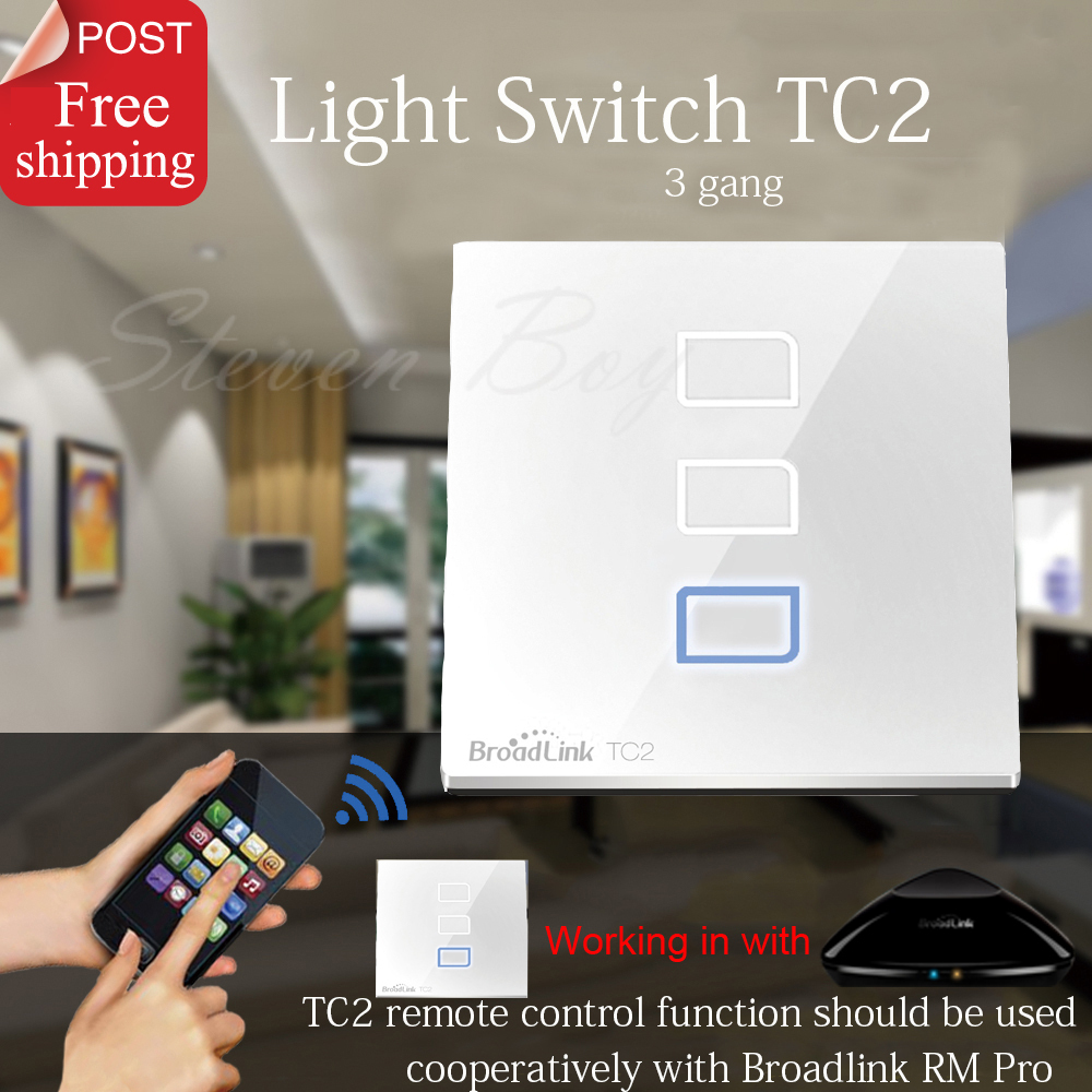 Broadlink TC2 3 Gang Wireless Smart Remote Control Wifi Wall Touch Screen Switch 433MHZ Smart Home Automation English Version(China (Mainland))