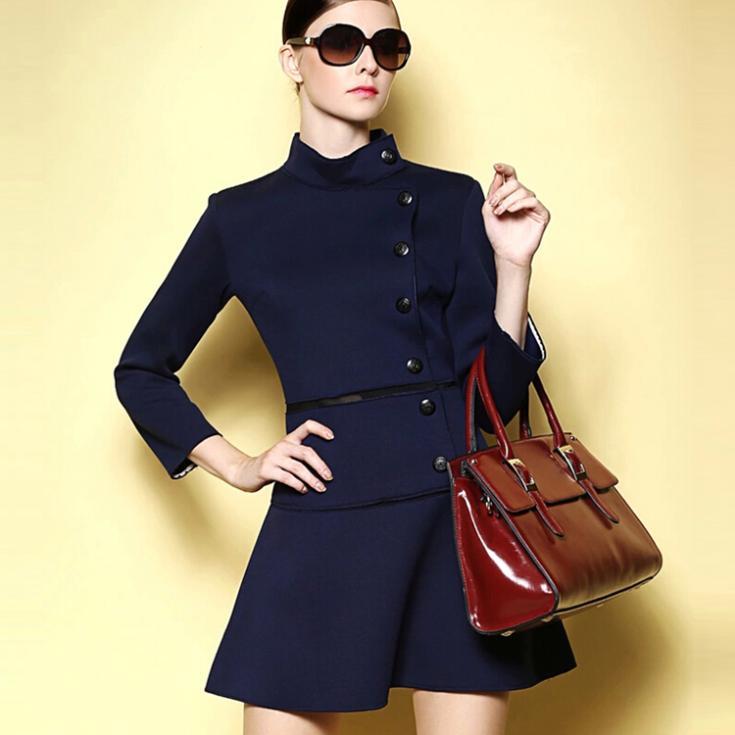 2014 a-line dress woman fashion tunic draped vintage long sleeve knee length winter sd542d - ShowyDress store