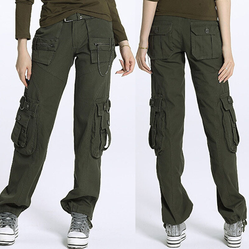 Awesome Ladies Womens Army Military Green Camouflage Cargo Pants Jeans Combat