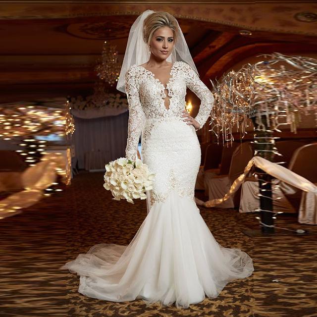Buy new designer long sleeve lace mermaid for Long sleeve lace mermaid wedding dress