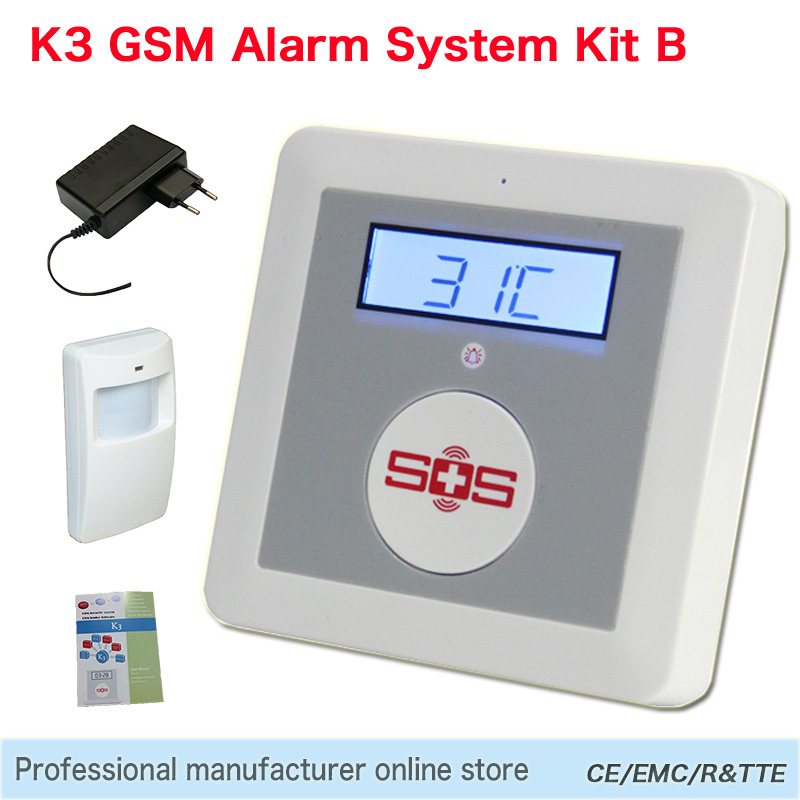 Electronic Components GSM Home Alarm SOS Call Alarm and the Elderly Home Security System K3 B Package with a Mition Detector(China (Mainland))