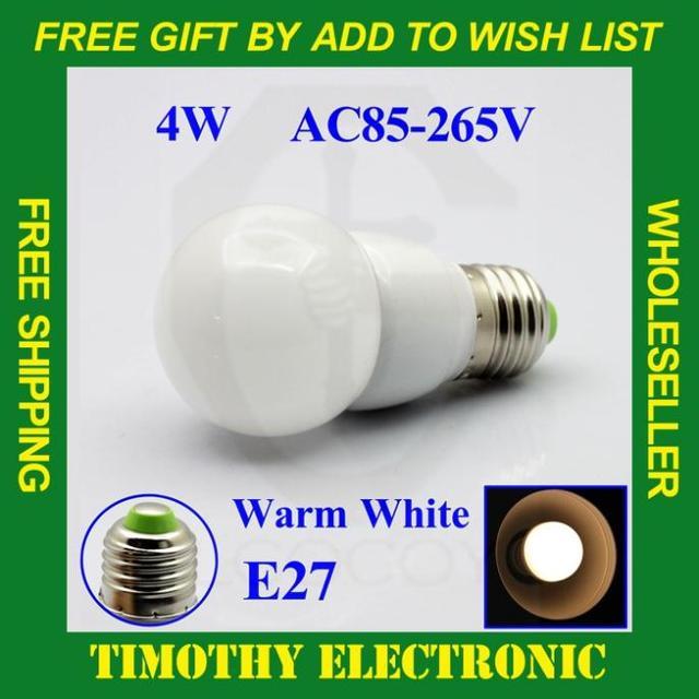 Hot! FREE SHIPPING E27 4W 300LM AC85V-265V WARM WHITE Bubble Ball LED Light Lamp Bulbs Lighting Energy Saving glass cover 1PC