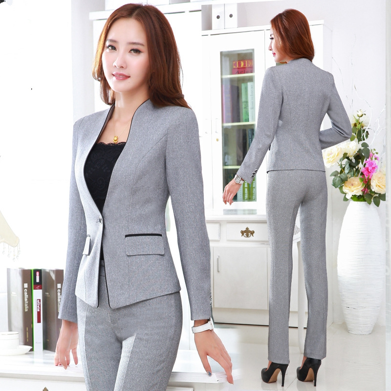Beautiful Elegant Grey 2015 Autumn Winter Business Women Suits Jackets And Pants