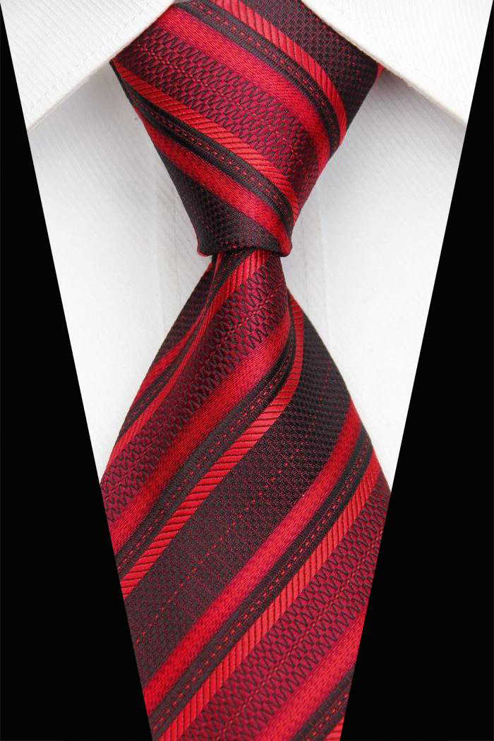 NT0459 2014 New Fashion Classic Tie Polyester Black Red Stripes Jacquard Woven Men s Accessories Formal