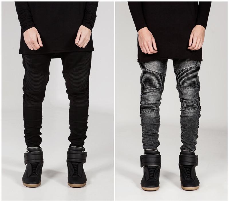 Mens Skinny jeans men 2015 Runway Distressed slim elastic jeans denim Biker jeans hiphop pants Washed black jeans for men blue(China (Mainland))