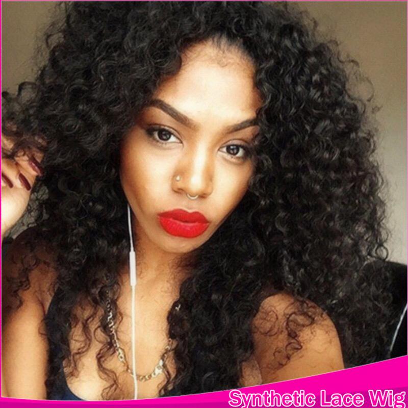 2016 5A Grade Brazilian Natural Hairline Lace Front Curls Wigs Kanekalon Hair синтетический Kinky Curly Термоустойчивый Color Black