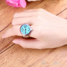Creative Women Fashion Lady Girl Steel Round Elastic Quartz Finger Ring with-watch