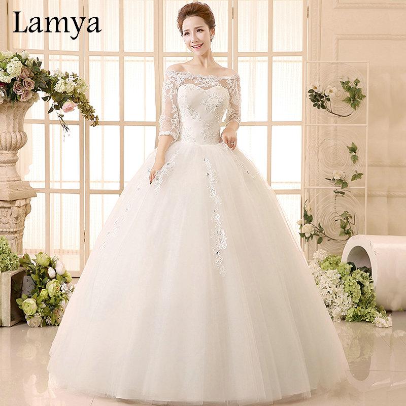 Princess beatiful lace wedding dress with sleeve 2016 for Plus size wedding dresses with sleeves cheap
