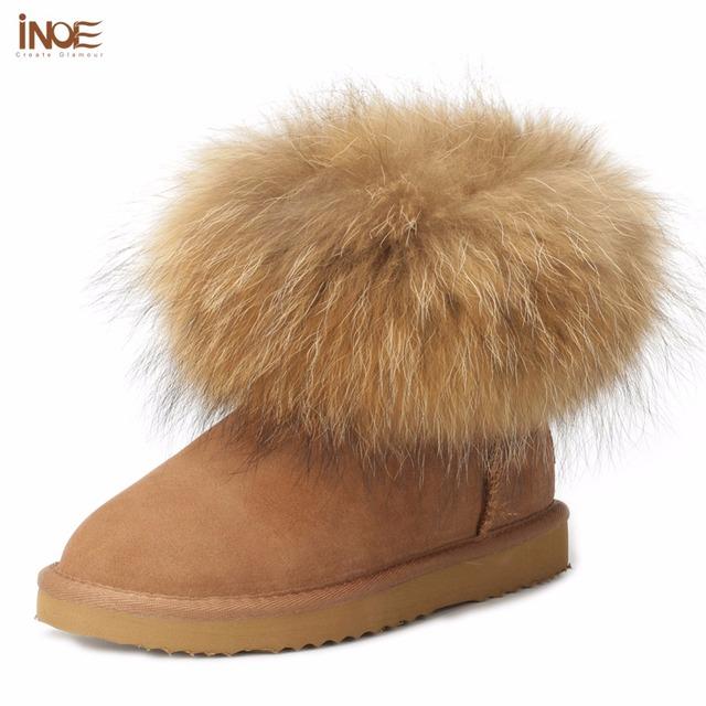 ИНОЕ мода неподдельная кожа коровы большой лисий мех девушки зима короткая лодыжки снега сапоги для женщин зимние квартиры обувь черный высокое качество