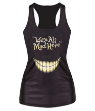 Fashion Female Hot sale Camisole WE'RE ALL MAD HERE Black Digital Printed punk women vest Sexy Tank Tops(China (Mainland))